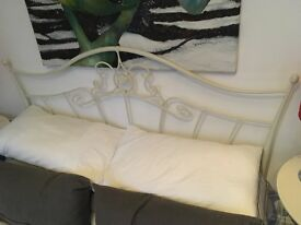 Cream Double Bed Frame, tables and lights