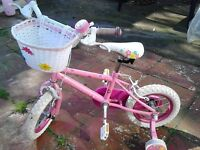 Girls Bike - pink Princess, 12'' wheels, suitable for 3-5 years.