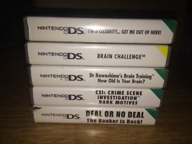 5 DS Games - Brain Training, Brain Challenge, Im a Celeb, CSI, Deal Or No Deal