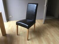 5 x dark brown leather high back chairs with pine legs £30 each