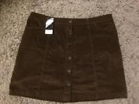 Next short brown cord skirt size UK 18