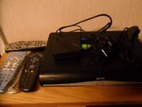 Sky HD+ Box with leads and remote controls including a Brand New Manchester City Remote Control