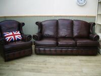 Stunning Brown Leather Chesterfield 3 Seater Sofa and Chair