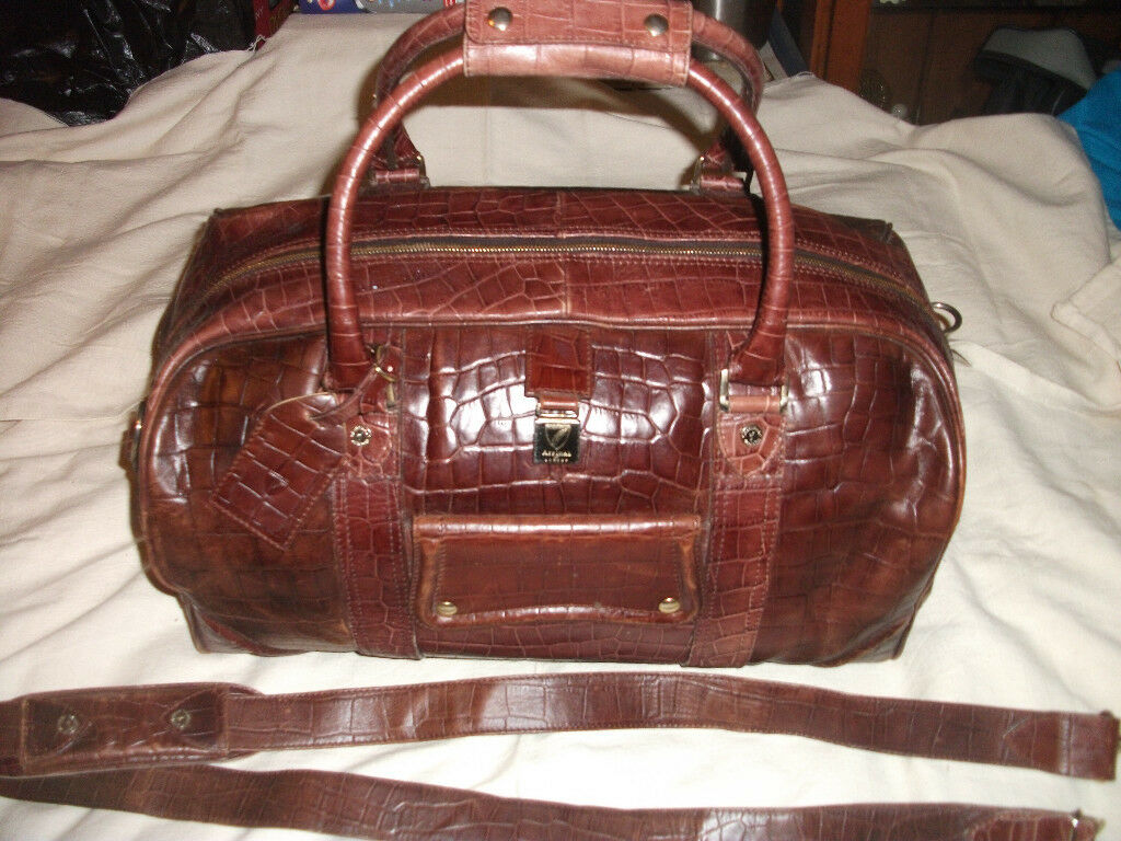 aspinal of london weekend leather bag large croc skin in vgc,very expensive bag 100% genuine