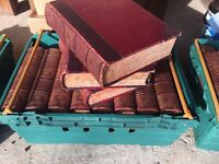 35 OLD LEATHER BOUND BOOKS, DECORATING, ANTIQUE LARGE ENCYCLOPAEDIA BRITANNICA, NINTH EDITION