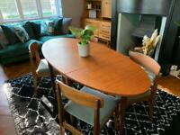Mid century retro dining table and chairs