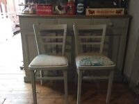 Shabby chic vintage dining chairs x 2 Annie Sloan Paris grey