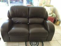 Brown Leather & leather match sofa 3 & 2 seater