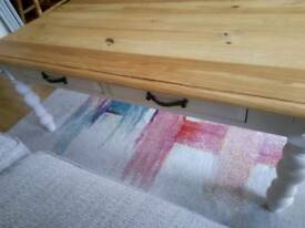 Painted pine coffee table with drawers - £40