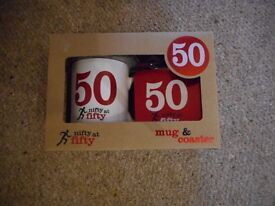 50th Birthday Mug and Coaster Set