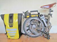 New Custom Built Brompton Raw Lacquer Folding Bike Matching Ortlieb Bag & Accessories