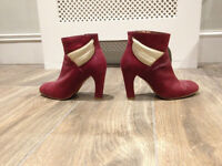 Patricia Blanchet Leather Boots -Burgundy-Like New-Size 5(UK) 38(FR)-Queens Park Station Collection