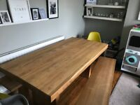John Lewis Henry Dining Room Table, Including Two Benches