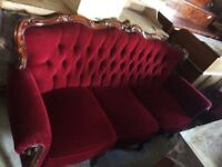 Victorian style scarlet red button back sofa 2 armchairs and footstool