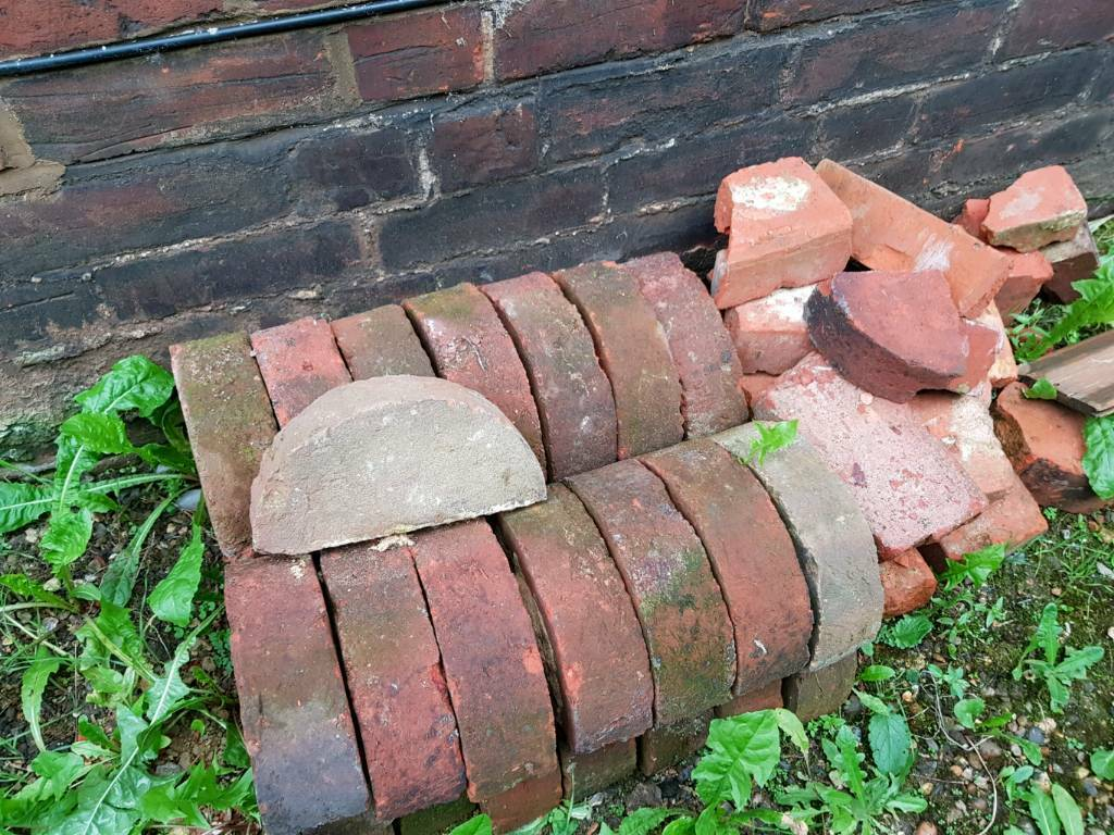 25 Half Round Moon Coping Edging Bricks From Edwardian Built Wall
