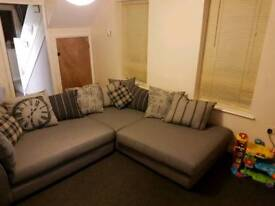 Dfs grey scatter back corner sofa. *ready mid March* SENSIBLE OFFERS PLEASE