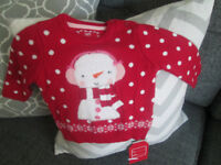 BNWT BABY GIRLS RED CHRISTMAS JUMPER - AGE 3-6 MONTHS