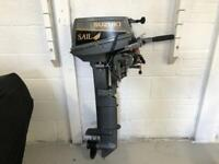 """Suzuki 9.9hp """"Sail"""" Outboard motor, superb condition, with fuel tank"""