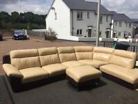 Dfs cream and brown large corner sofa