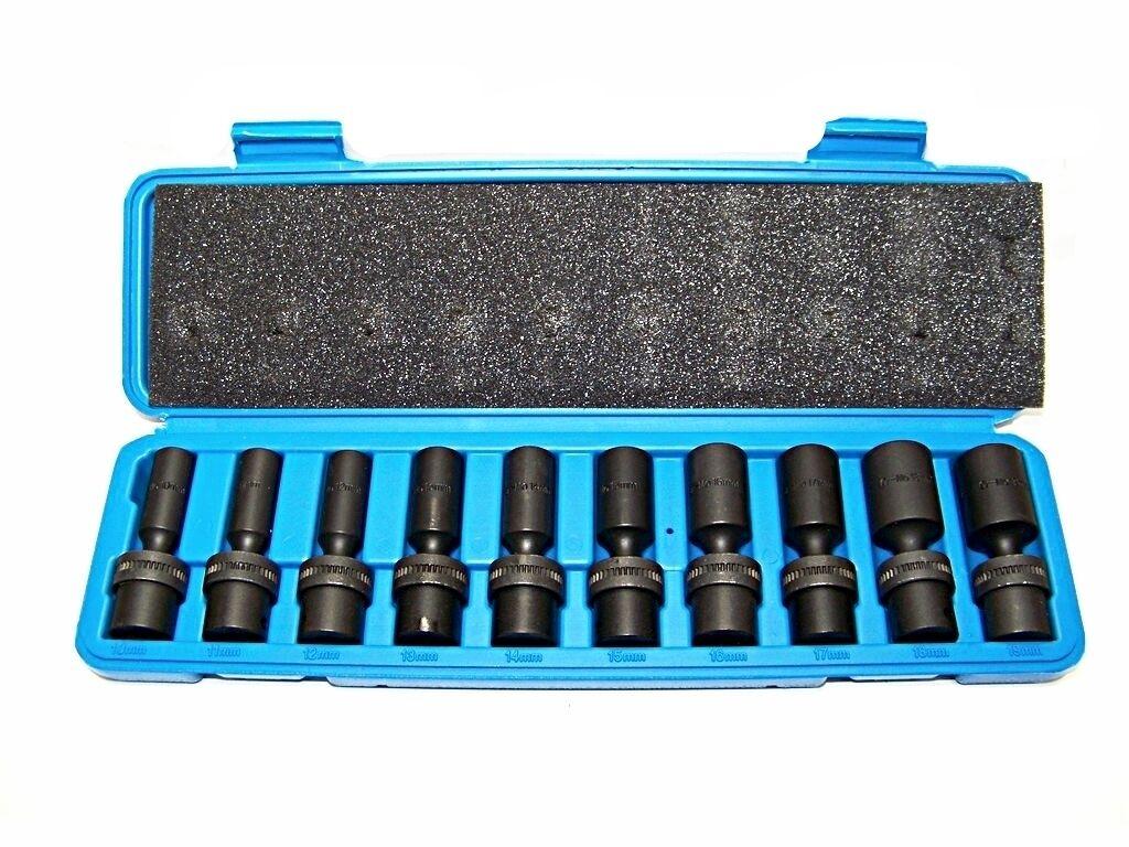 "10 Pc 3//8/"" Drive Universal Swivel Deep Impact Socket Set CR molybdenum METRIC"