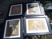 4 EGYPTIAN IMAGES ON PAPYRUS PAPER PROFESSIONALLY FRAMED