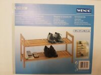 Wenko Shoe Rack stackable walnut