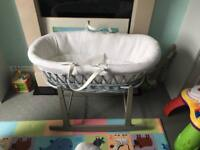 Clair de lune grey wicker Moses basket with mattress, deluxe grey rocking stand and sheet