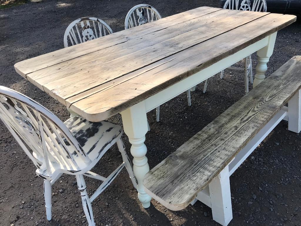 Lovely farmhouse rustic table chairs bench