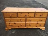 Solid pine seven drawer sideboard/ bedroom drawers
