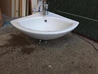 Corner Sink With Mixer Tap & Waste - New (Unused Condition)