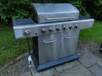 Outback Meteor 6 burner BBQ 1/2 grill 1/2 hot plate with side burner and genuine Outback cover