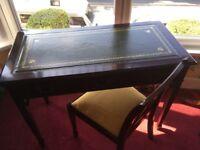 Mahogany green leather inlaid desk