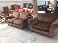 Velour 3 seater sofa with cuddle chair . Your custom helps feed the homesless in Manchester