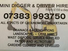 Mini digger hire with driver.