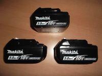 MAKITA 5 AMP 18 VOLT BATTERY WITH LED INDICATOR BRAND NEW & SEALED