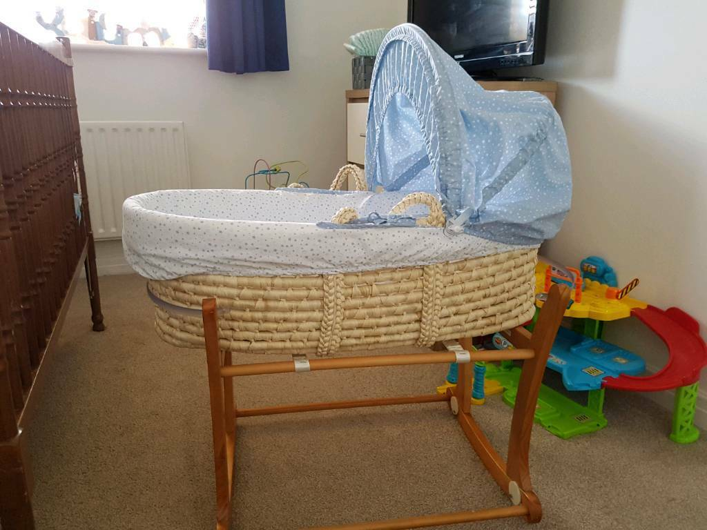 Free mothercare rocket Moses basket and stand