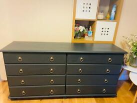 Solid pine double chest of drawers / sideboard