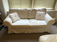 2 seater white sofa bed
