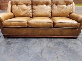 FABULOUS QUALITY MADE GOLD HEAVY DUTY LEATHER 3 SEATER SOFA SETTEE FIRE LABEL SUPER COMFY VGC