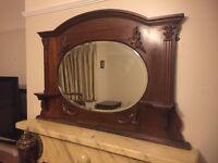 Victorian mahogany frame bevel edged mirror