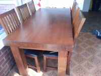 Solid Oak 6 chair Dinning Table