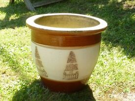 Nice Cream & Brown Ceramic Planter With Tree Detail Decoration 22cm Tall