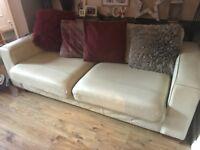 3 seater cream leather sofas (x2)