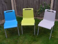 3 Stacking Chairs Plastic Modern Design Cafe Dining Reception Waiting Room
