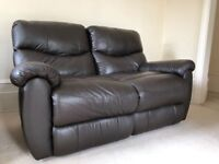 **BEAUTIFUL 2 seater leather recliner sofa - dark chocolate brown - high quality!**