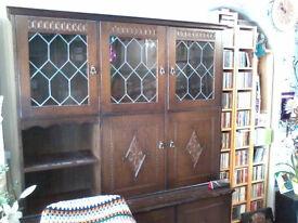 Three bay dark wood wall cabinet/unit