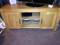 Second hand solid oak TV cabinet and sideboard, good condition, PUO