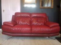 Red Italian Leather Sofa