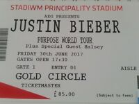 1 X Golden Circle Justin Beiber Ticket Cardiff 30th June Face Value Recorded / Signed Delivery