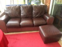 Harvey's brown leather 3 seater sofa and pouf
